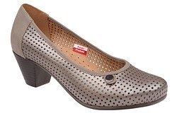 Czółenka na obcasie buty AXEL Comfort 1593 Perła