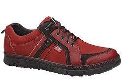 Półbuty KACPER 1-3412-400 Czerwone sznurowane