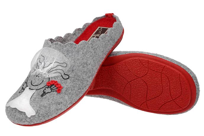 Kapcie MANITU 320508-9 Popielate Pantofle domowe Ciapy