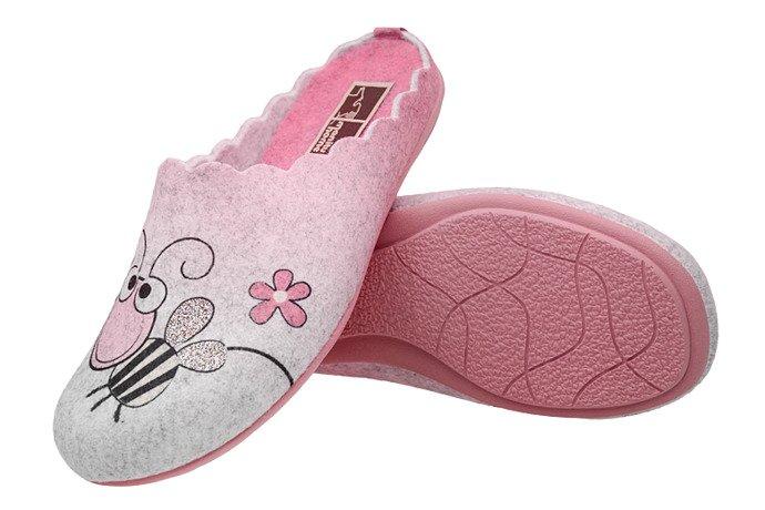Kapcie MANITU 320558-9 Popielate Pantofle domowe Ciapy