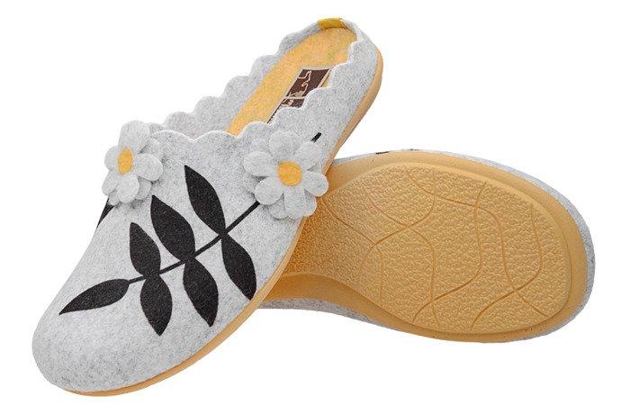Kapcie MANITU 320559-9 Popielate Pantofle domowe Ciapy