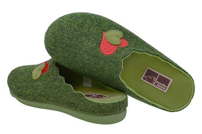 Kapcie MANITU 320597-7 Zielone Pantofle domowe Ciapy