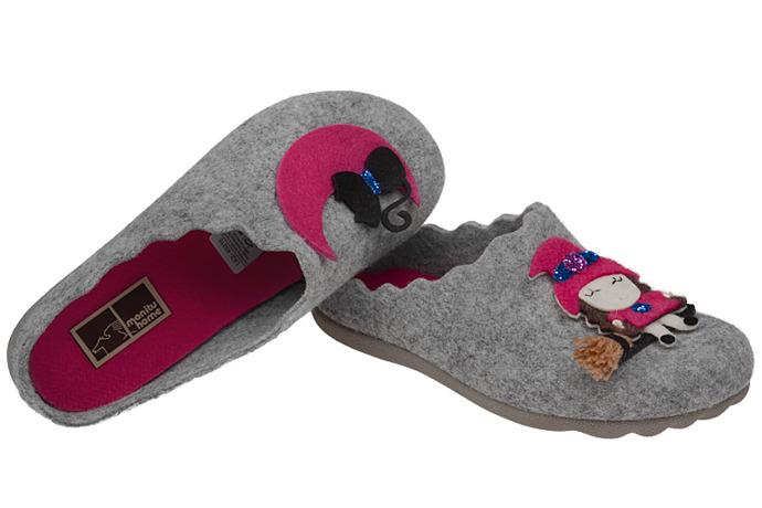 Kapcie Pantofle domowe Ciapy MANITU 320429-9 Popielate