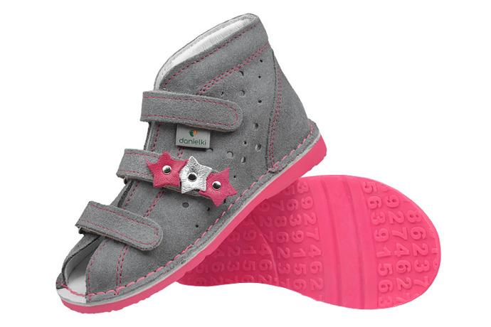 Kapcie profilaktyczne buty DANIELKI TA125 TA135 Szary Fluo Fuksja