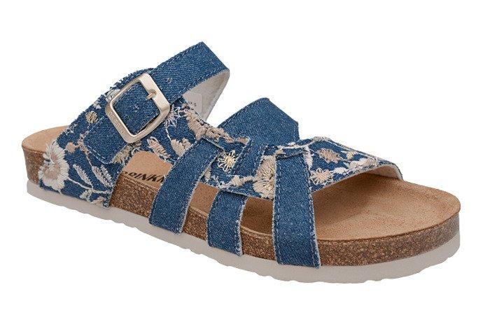 Klapki Dr Brinkmann 701142-5 Jeans Niebieskie Kwiaty