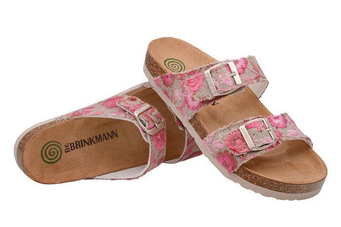 Klapki Dr Brinkmann 701143-8 Beżowe Różowe Kwiaty