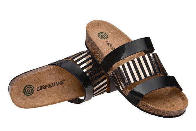 Klapki Dr Brinkmann 701201-1 Czarne Złote Lakier