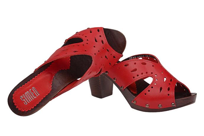 Klapki damskie SIMEN 6912 Czerwone Peep Toe