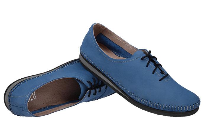 Mokasyny sznurowane buty SIMEN 6870 Niebieskie