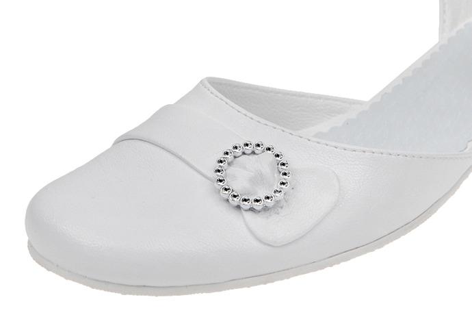 Pantofelki buty komunijne dla dziewczynki KMK 42 Białe