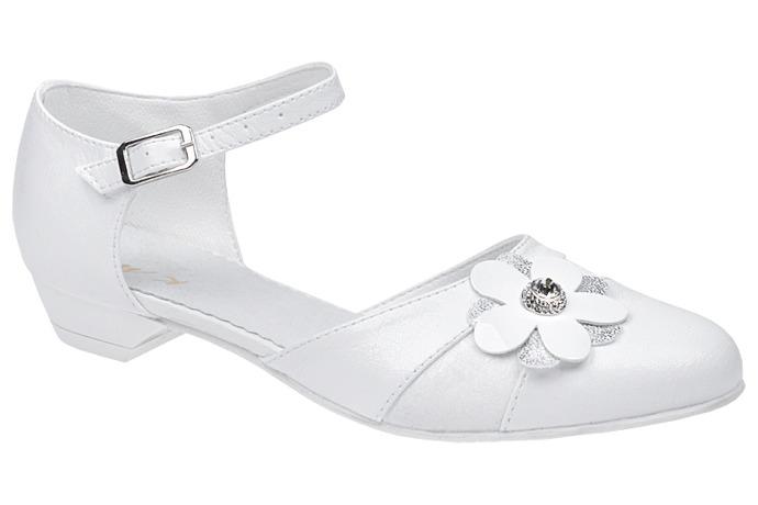 Pantofelki buty komunijne dla dziewczynki KMK 179 Białe