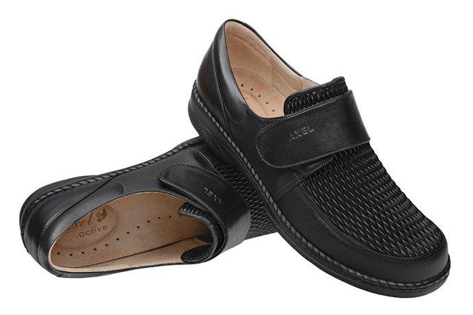 Półbuty AXEL Comfort 1206 Czarne na rzepy H