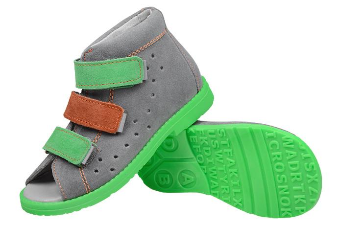 Sandałki Profilaktyczne Ortopedyczne Buty DAWID 1041 Szary SZOL