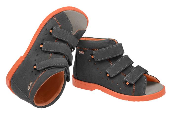 Sandałki Profilaktyczne Ortopedyczne Buty DAWID 1042 Szary SZ PP+JW