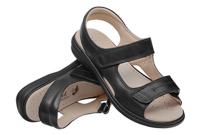Sandały AXEL Comfort 2154 H Czarne na Haluksy