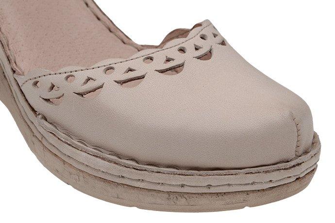 Sandały MANITU 910778-8 Beżowe Ecru