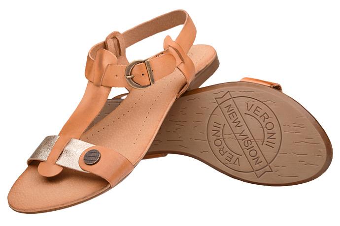 Sandały damskie VERONII 3494 Sienna Brąz+Złoty