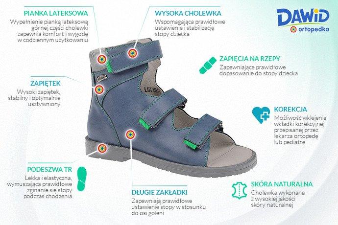 Trzewiki Profilaktyczne Ortopedyczne Buty DAWID 951 G Granat